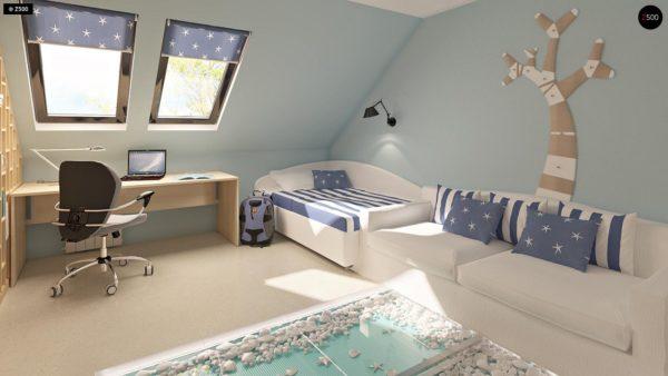 Фото 11 - Z124 - Проект функционального дома с эркером в столовой дополнительной спальней на первом этаже.