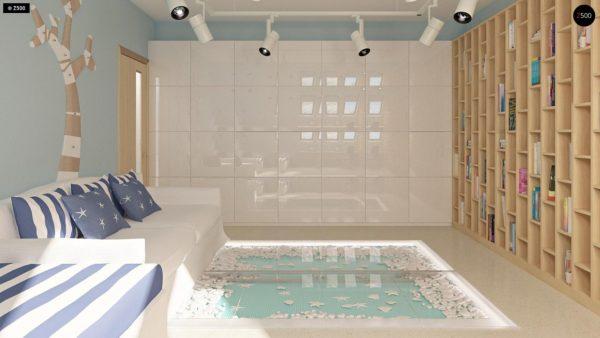 Фото 10 - Z124 - Проект функционального дома с эркером в столовой дополнительной спальней на первом этаже.