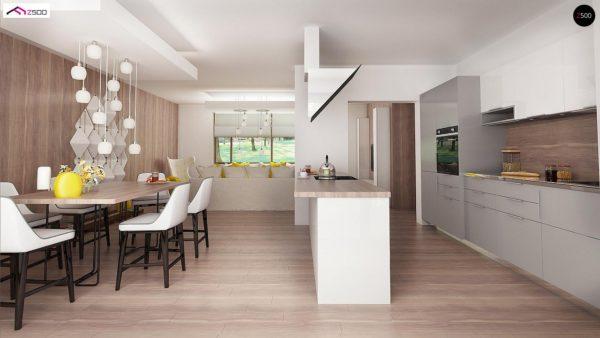 Фото 9 - Z140 v1 - Вариант проекта Z140 с фронтальным расположением кухни.