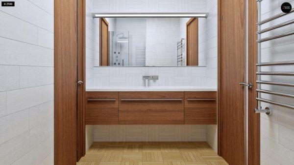 Фото 9 - Z16 dk - Аккуратный одноэтажный дом с деревянной облицовкой фасадов, адаптированный для каркасной технологии.