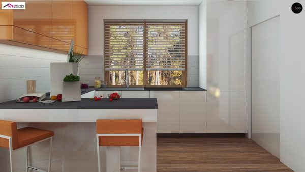 Фото 3 - Z178 - Элегантный дом простой формы со встроенным гаражом, эркером и балконом над ним.