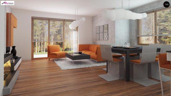 Фото 6 - Z178 - Элегантный дом простой формы со встроенным гаражом, эркером и балконом над ним.