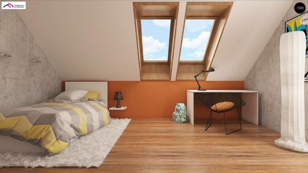 Фото 8 - Z178 - Элегантный дом простой формы со встроенным гаражом, эркером и балконом над ним.