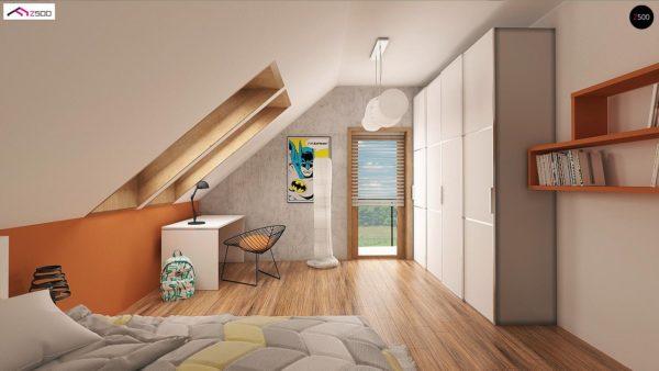 Фото 9 - Z178 - Элегантный дом простой формы со встроенным гаражом, эркером и балконом над ним.
