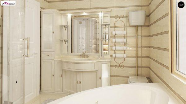 Фото 15 - Z2 A - Проект дома в классическом стиле с роскошной мансардой и стильным экстерьером.