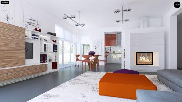 Фото 8 - Z204 - Проект функционального одноэтажного дома Ночная зона во фронтальной части, кухня со стороны сада.