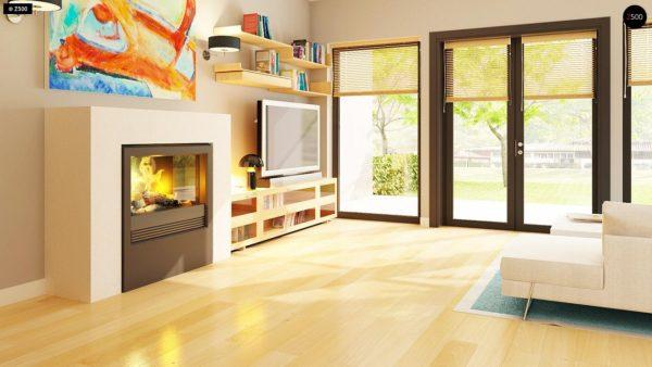 Фото 6 - Z24 - Практичный одноэтажный дом с 4-х скатной кровлей и угловым окном в кухне.
