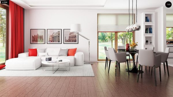 Фото 3 - Z52 - Проект одноэтажного дома с многоскатной кровлей, с фронтальным гаражом.
