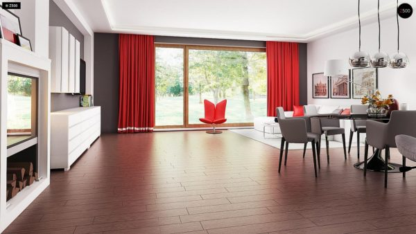 Фото 4 - Z52 - Проект одноэтажного дома с многоскатной кровлей, с фронтальным гаражом.