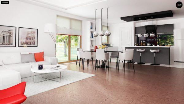 Фото 5 - Z52 - Проект одноэтажного дома с многоскатной кровлей, с фронтальным гаражом.