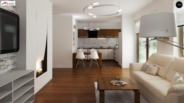 Фото 3 - Z60 - Выгодный в строительстве и эксплуатации маленький одноэтажный дом с крытой террасой.