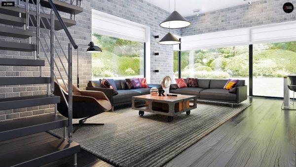 Фото 5 - Zx63 - Современный элегантный дом с гостиной с фронтальной стороны.