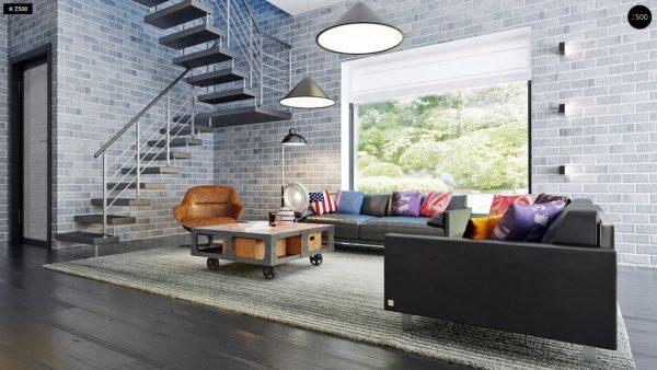 Фото 6 - Zx63 - Современный элегантный дом с гостиной с фронтальной стороны.