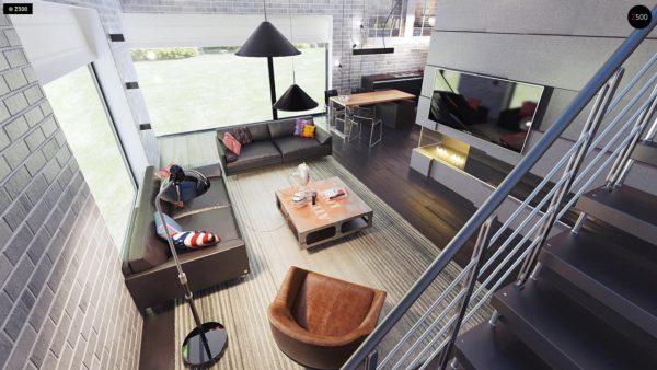 Фото 7 - Zx63 - Современный элегантный дом с гостиной с фронтальной стороны.