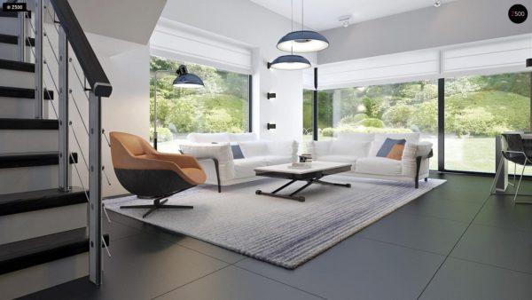 Фото 9 - Zx63 - Современный элегантный дом с гостиной с фронтальной стороны.
