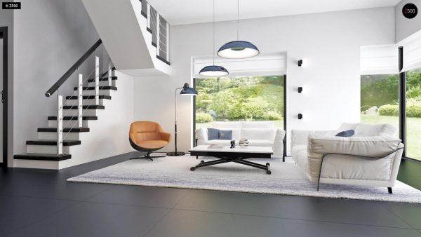 Фото 10 - Zx63 - Современный элегантный дом с гостиной с фронтальной стороны.