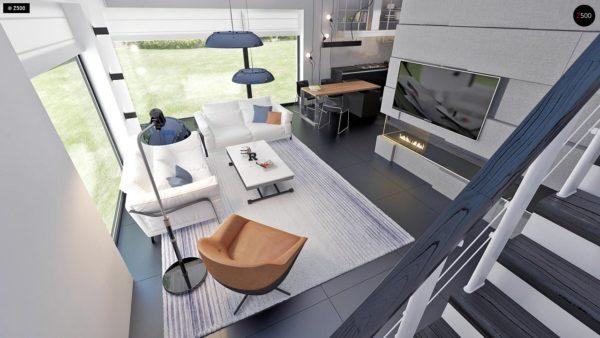 Фото 11 - Zx63 - Современный элегантный дом с гостиной с фронтальной стороны.